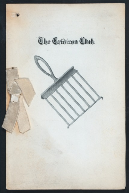 """ANNIVERSARY DINNER [held by] THE GRIDIRON CLUB [at] """"THE ARLINGTON,?"""" ([HOTEL])"""
