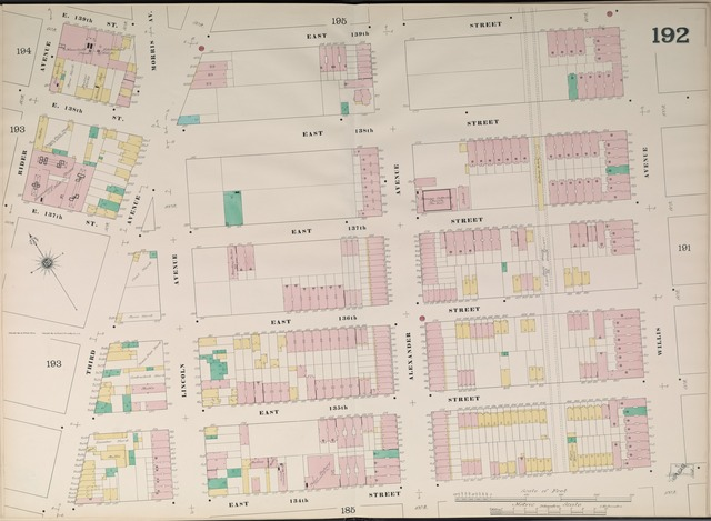 Bronx, V. 9, Double Page Plate No. 192 [Map bounded by East 139th St., Willis Ave., East 134th St., Rider Ave.]