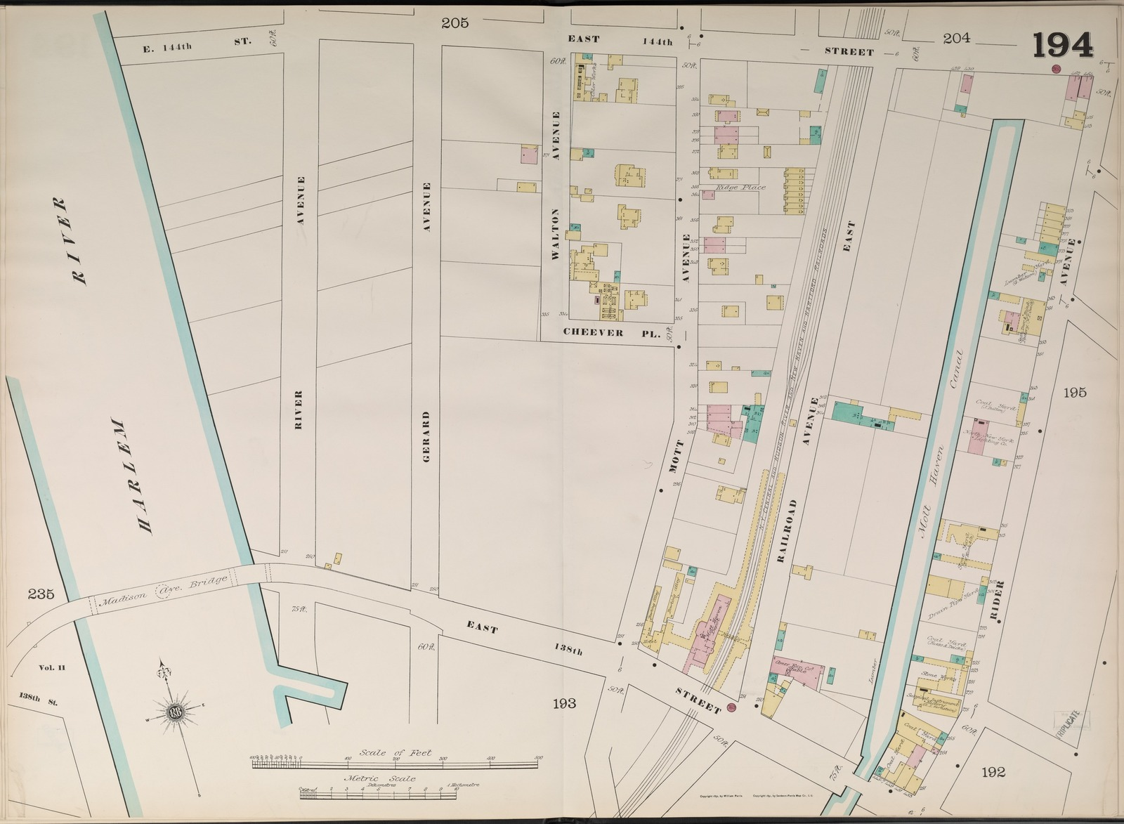 Bronx, V. 9, Double Page Plate No. 194 [Map bounded by East 144th St., Rider Ave., East 138th St., Harlem River.]
