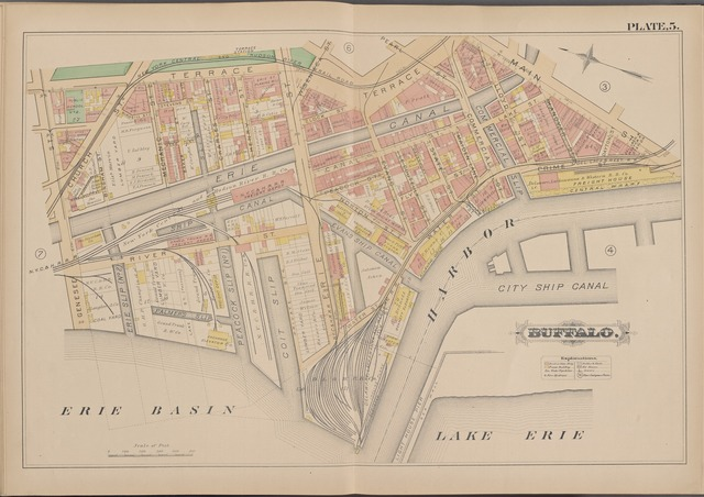 Buffalo, Double Page Plate No. 5 [Map bounded by Terrace, Main St., Lake Erie, Erie Basin, Genesee St.]