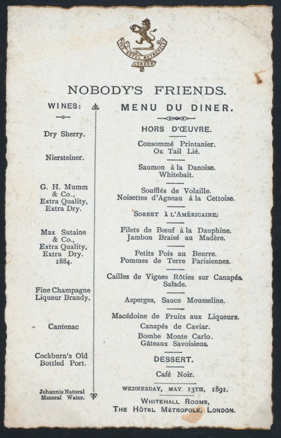 """DINNER [held by] NOBODY'S FRIENDS [at] """"WHITEHALL ROOMS, THE HOTEL METROPOLE, LONDON, [ENGLAND]"""" (FOREIGN HOTEL)"""