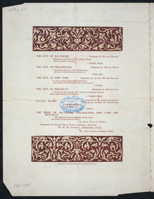 "DINNER TO WELCOME ROBERT GARRETT, PRESIDENT OF THE BALTIMORE & OHIO RAILROAD, TO STATEN ISLAND [held by] ERASTUS WIMAN AND HIS ASSOCIATES [at] ""PAVILION HOTEL, NEW BRIGHTON, STATEN ISLAND, NY"" (HOT;)"