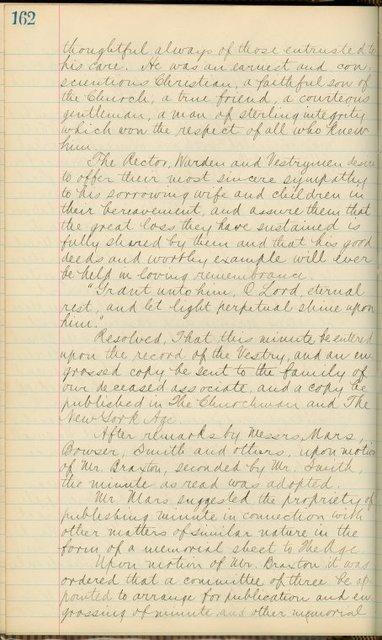 St. Philips' Vestry eulogy of Philip White, February 1891