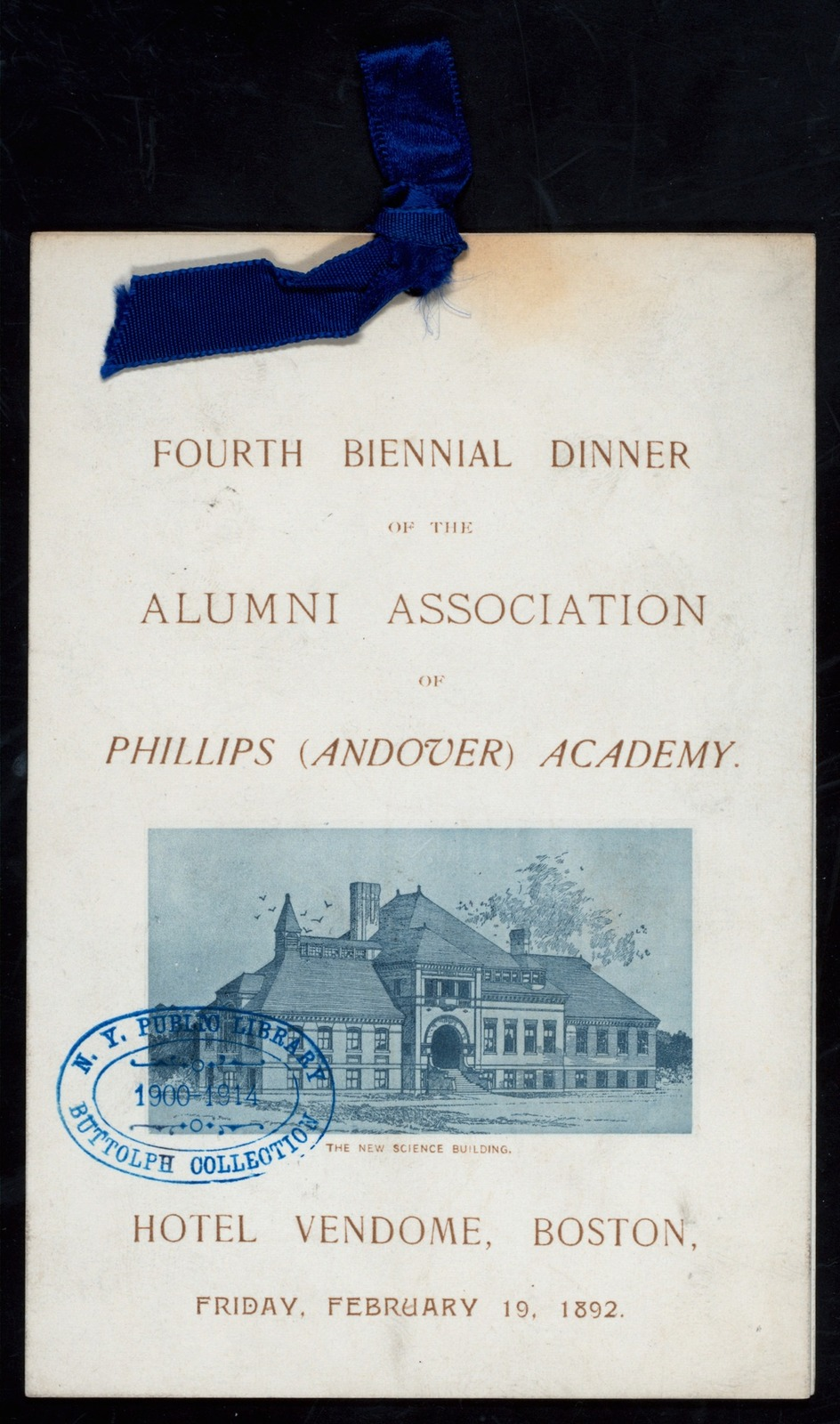 "4TH BIENNIAL DINNER [held by] ALUMNI ASSOCIATION OF PHILLIPS ANDOVER ACADEMY [at] ""HOTEL VENDOME, BOSTON,MASS."" (HOTEL)"