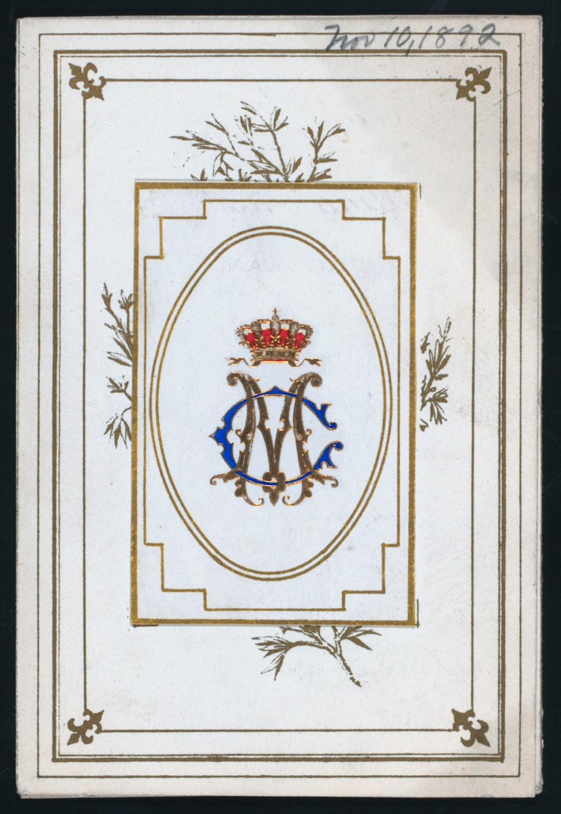 """DINNER TO THE QUEEN REGENT OF SPAIN,MARIE CHRISTINE [held by] DINER DE S.M. [at] """"MADRID,SPAIN"""" ([HOTEL])"""