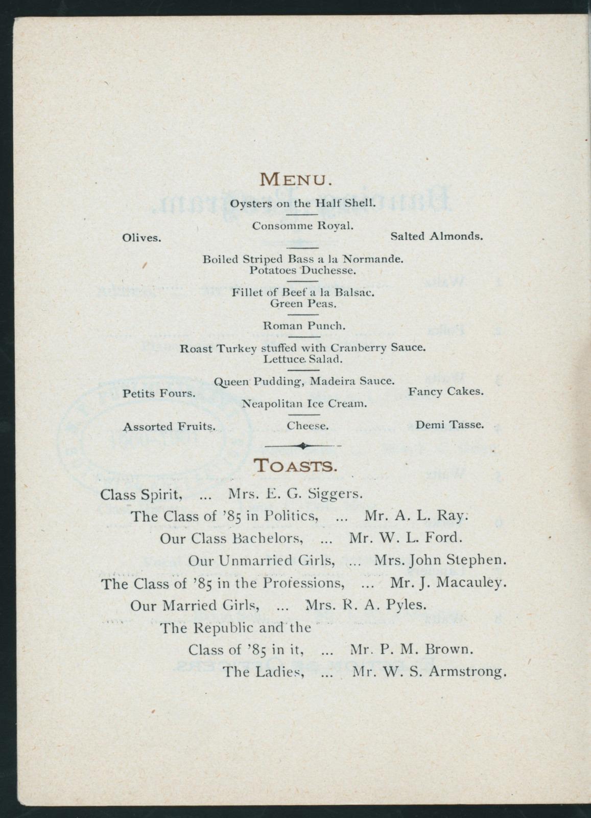 "EIGHTH ANNUAL REUNION [held by] WASHINGTON HIGH SCHOOL CLASS OF '85 [at] ""HOTEL COCHRAN, [WASHINGTON, D.C.]"" (HOTEL;)"