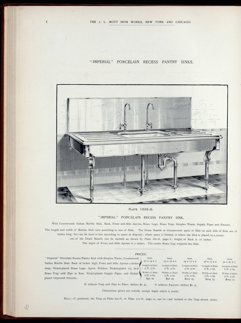 'Imperial' porcelain recess pantry sinks. Plate 1036-G.