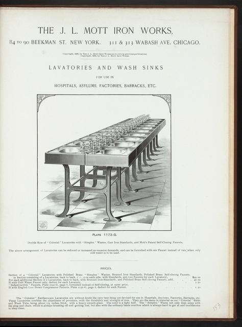 Lavatories and wash sinks for use in hospitals, asylums, factories, barracks, etc. Plate 1123-G.