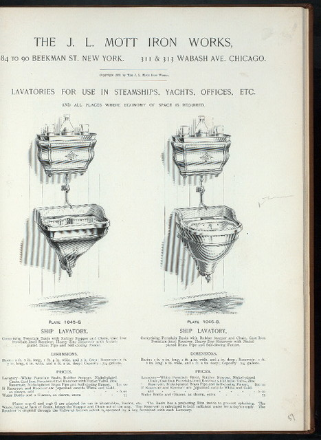 Lavatories for use in steamships, yachts, offices, etc. Plate 1045-G and Plate 1046-G.