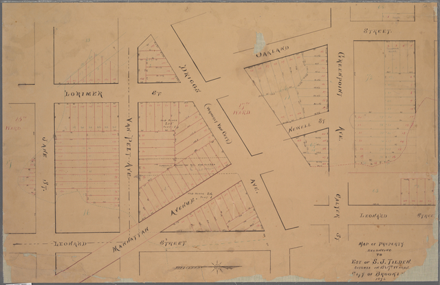 Map of property belonging to Est. of S. J. Tilden. Situate in 15th and 17th wards, City of Brooklyn.