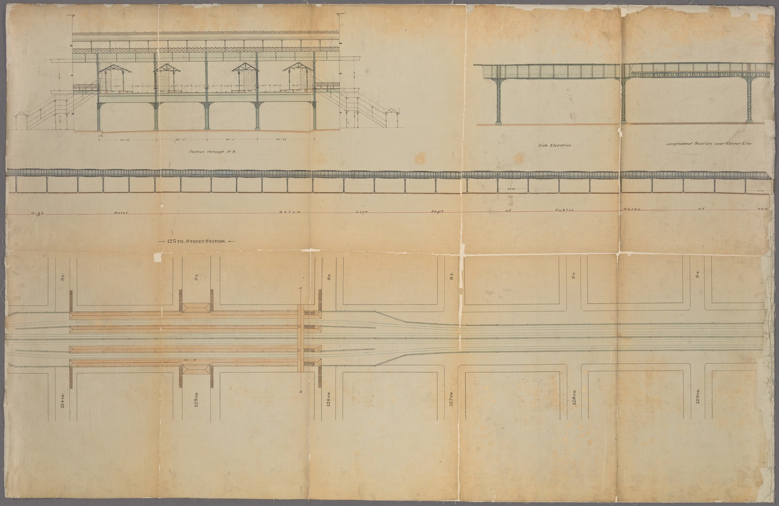 Plans for the improvement of Park Avenue, above 106th street in the City of New York. Exhibiting by map, profile, and cross sections, the work of alterations & changes to be made in the structure of the N. Y. & Harlem Railroad, on Park Avenue and 106th Street and the Harlem River in the City of New York.