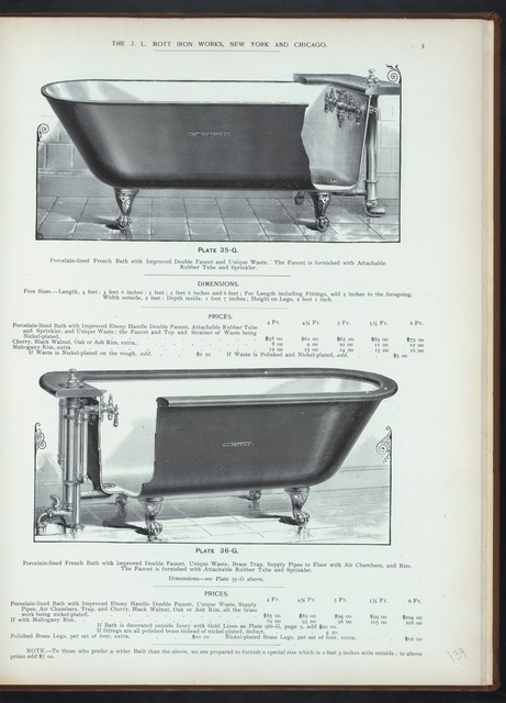 Porcelain-lined French bath with improved double faucet and unique waste. Plate 35-G. Porcelain-lined French bath with improved double faucet, ... sprinkler.