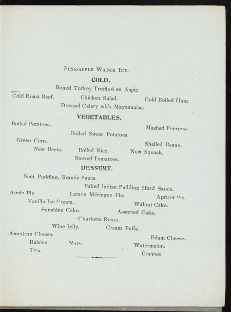 "SUNDAY DINNER [held by] HIRAM RICKER & SONS [at] ""POLAND SPRING HOUSE, SOUTH POLAND, MAINE"" (HOTEL;)"