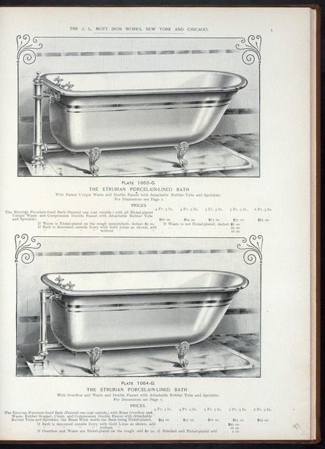 The Etrurian porcelain-lined bath, with patent unique waste and double faucet with attachable rubber tube and sprinkler.