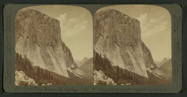 El Capitan,(3300 ft. high), most imposing of granite cliffs, east to Half Dome and Clouds' Rest, Yosemite valley, California.