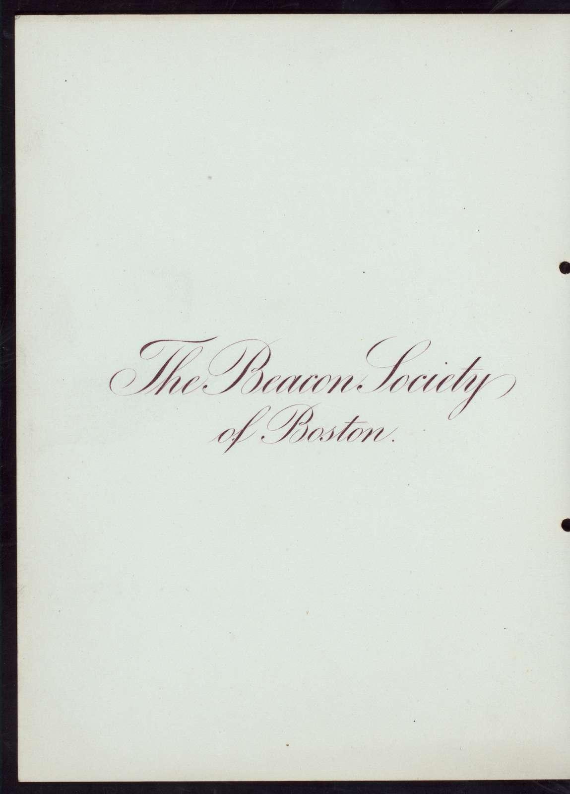 LADIES NIGHT [held by] THE BEACON SOCIETY OF BOSTON [at] HOTEL BRUNSWICK (HOTEL)