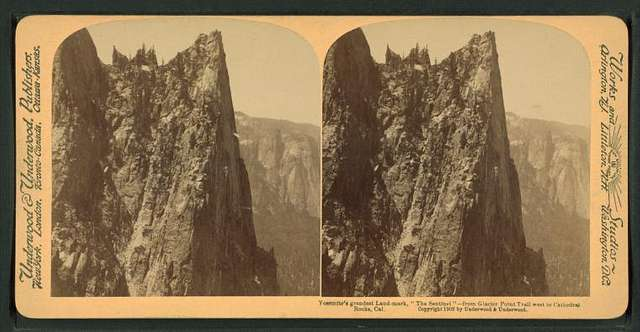 Yosemite's grandest land-mark 'The Sentinel', from Glacier Point Trail west to Cathedral Rocks, Cal.