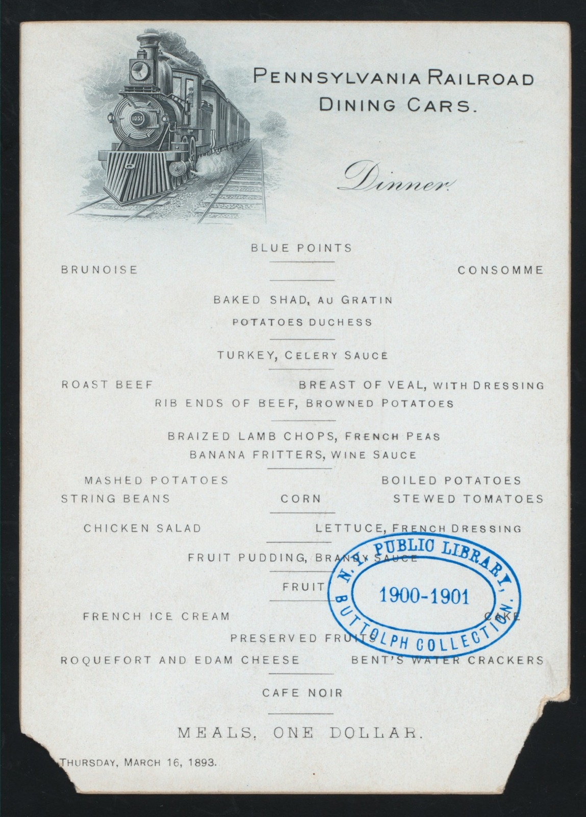 DINNER [held by] PENNSYLVANIA RR DINING CARS [at]  (RR;)