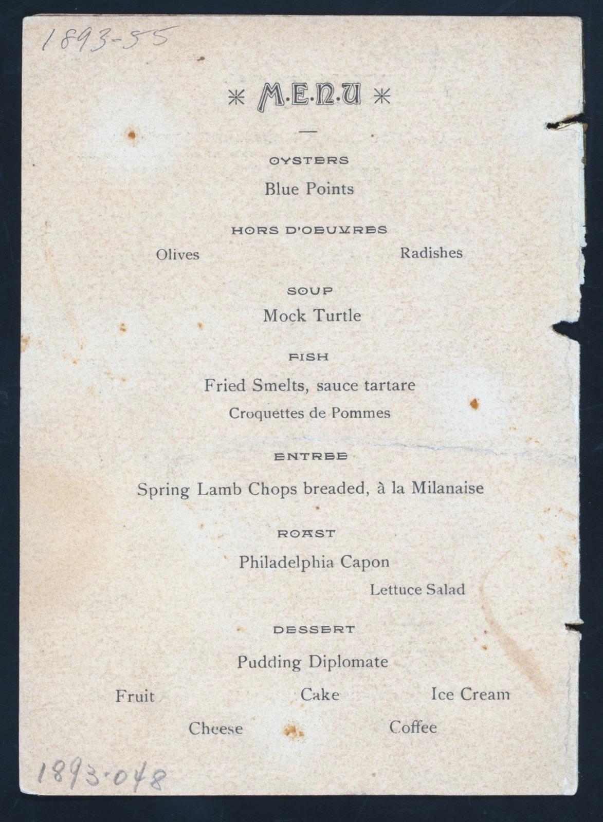 "DINNER TO CELEBRATE THOMAS JEFFERSON'S BIRTHDAY [held by] MANHATTAN SINGLE TAX CLUB [at] ""COLUMBIA RESTAURANT, NEW YORK, NY"" (REST;)"