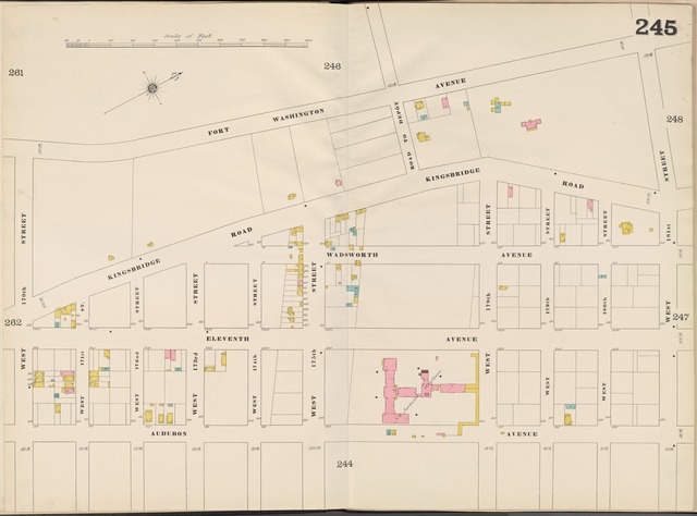 Manhattan, V. 11 1/2, Double Page Plate No. 245 [Map bounded by Fort Washington Ave., W. 181st St., Audubon Ave., W. 170th St.]