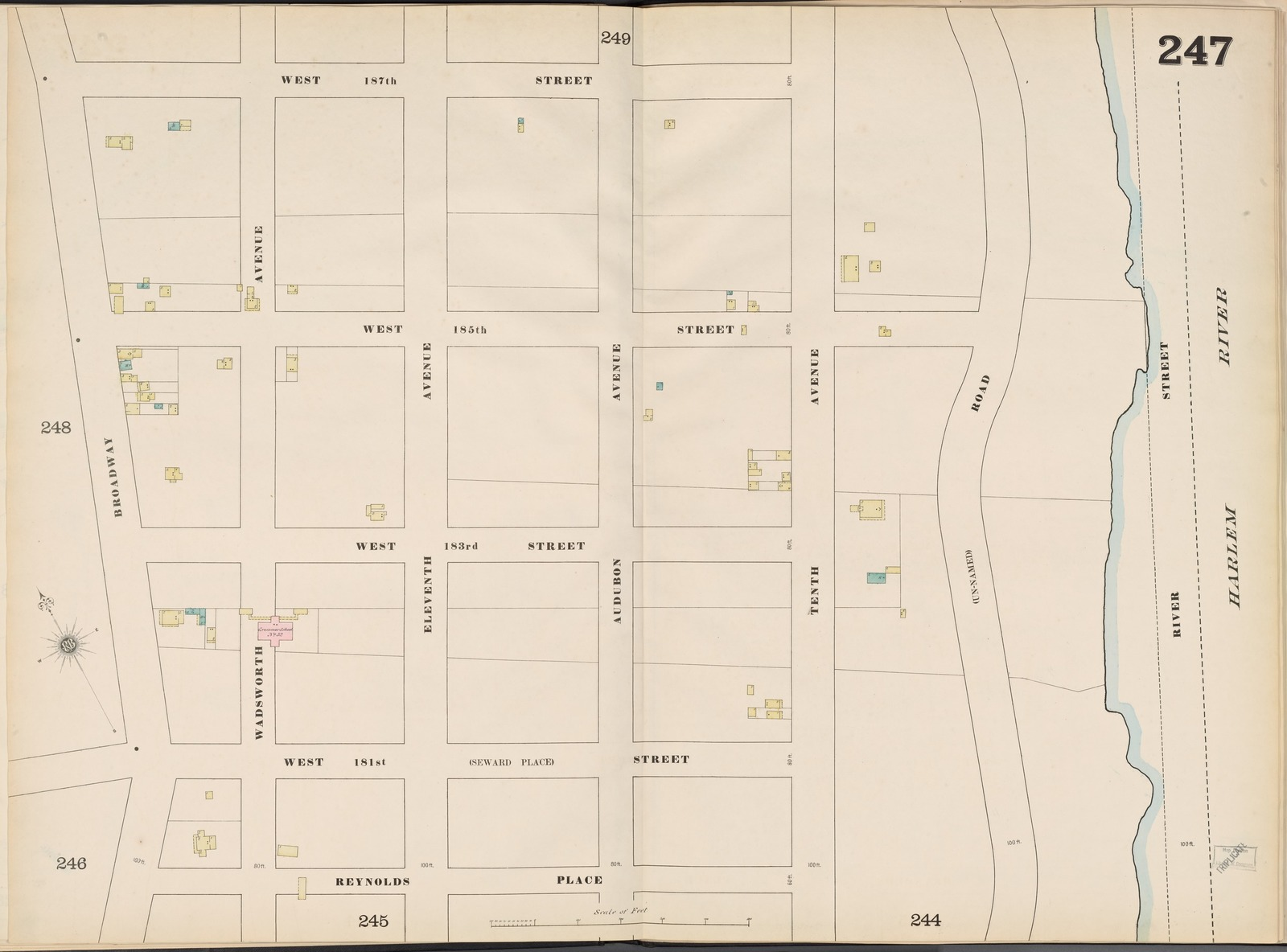 Manhattan, V. 11 1/2, Double Page Plate No. 247 [Map bounded by W. 187th St., Harlem River, Reynolds Place., Broadway]