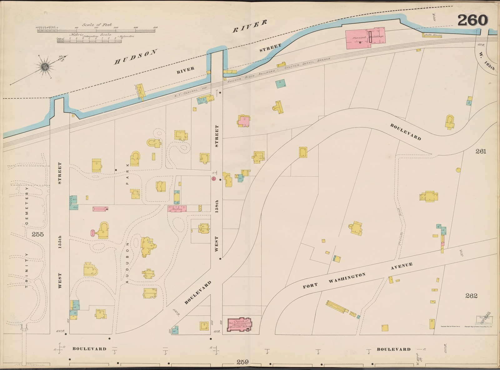 Manhattan, V. 11, Double Page Plate No. 260 [Map bounded by Hudson River, Boulevard, W. 155th St.]