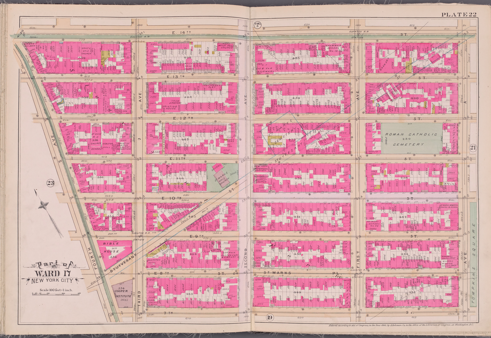 Plate 22 [Map bounded by E. 14th St., Ave. A, 7th St., 4th Ave.]