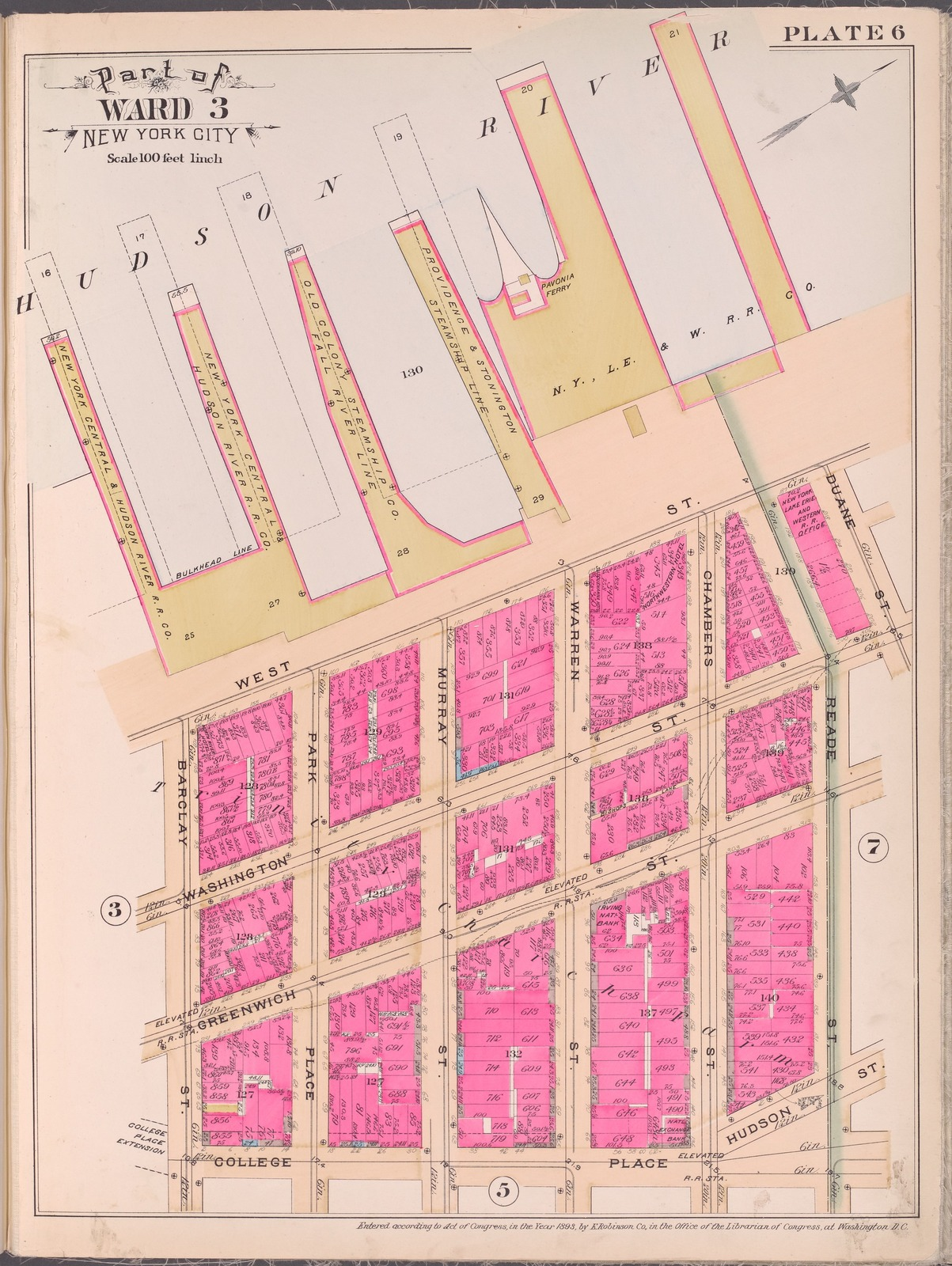 Plate 6 [Map bounded by Hudson River, Duane St., Reade St., Hudson St., College Place, Baclay St.]