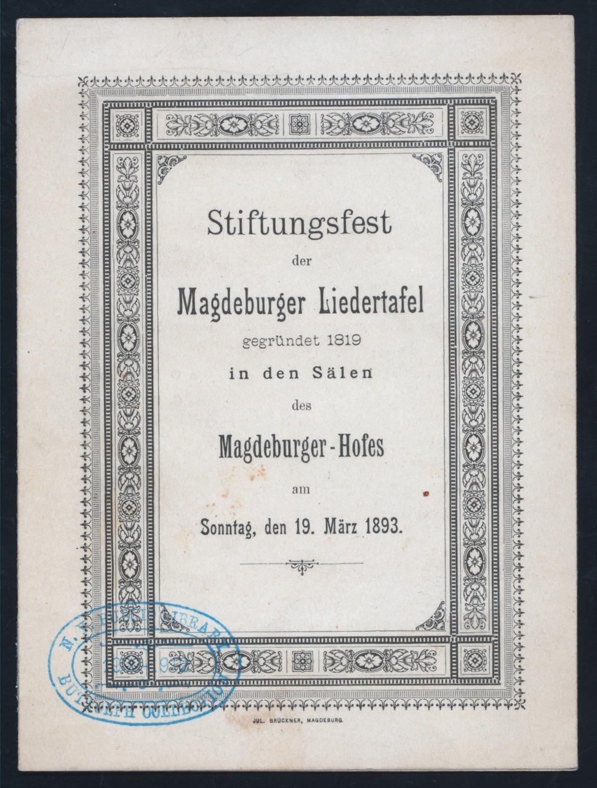 STIFTUNGSFEST [held by] MAGDEBURGER LIEDERTAFEL [at] MAGDEBUGER-HOFES [MAGDEBURG AUSTRIA?] (HOTEL)