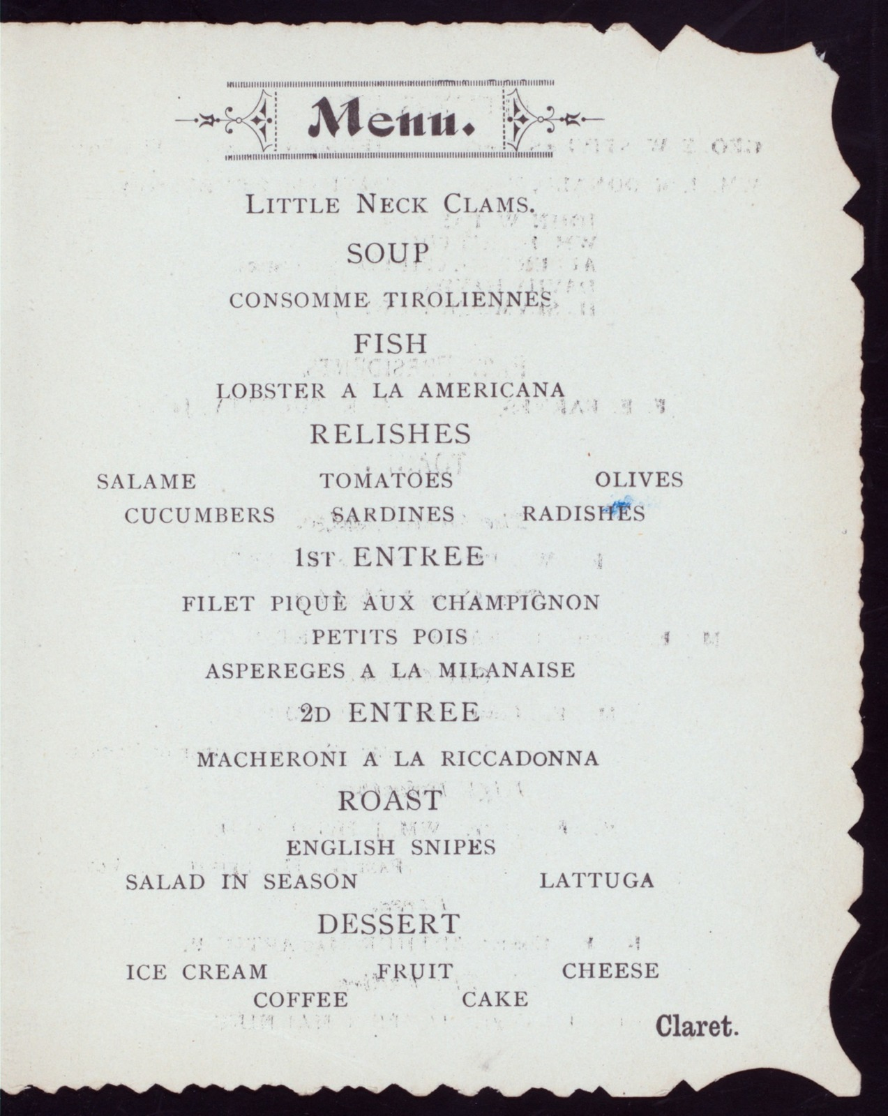 "THIRD ANNUAL BANQUET [held by] FRATERNAL UNION OF ANOINTED HIGH PRIESTS OF THE STATE OF NEW YORK [at] ""RICCADONNA'S, NEW YORK, NY"" ((REST?);)"