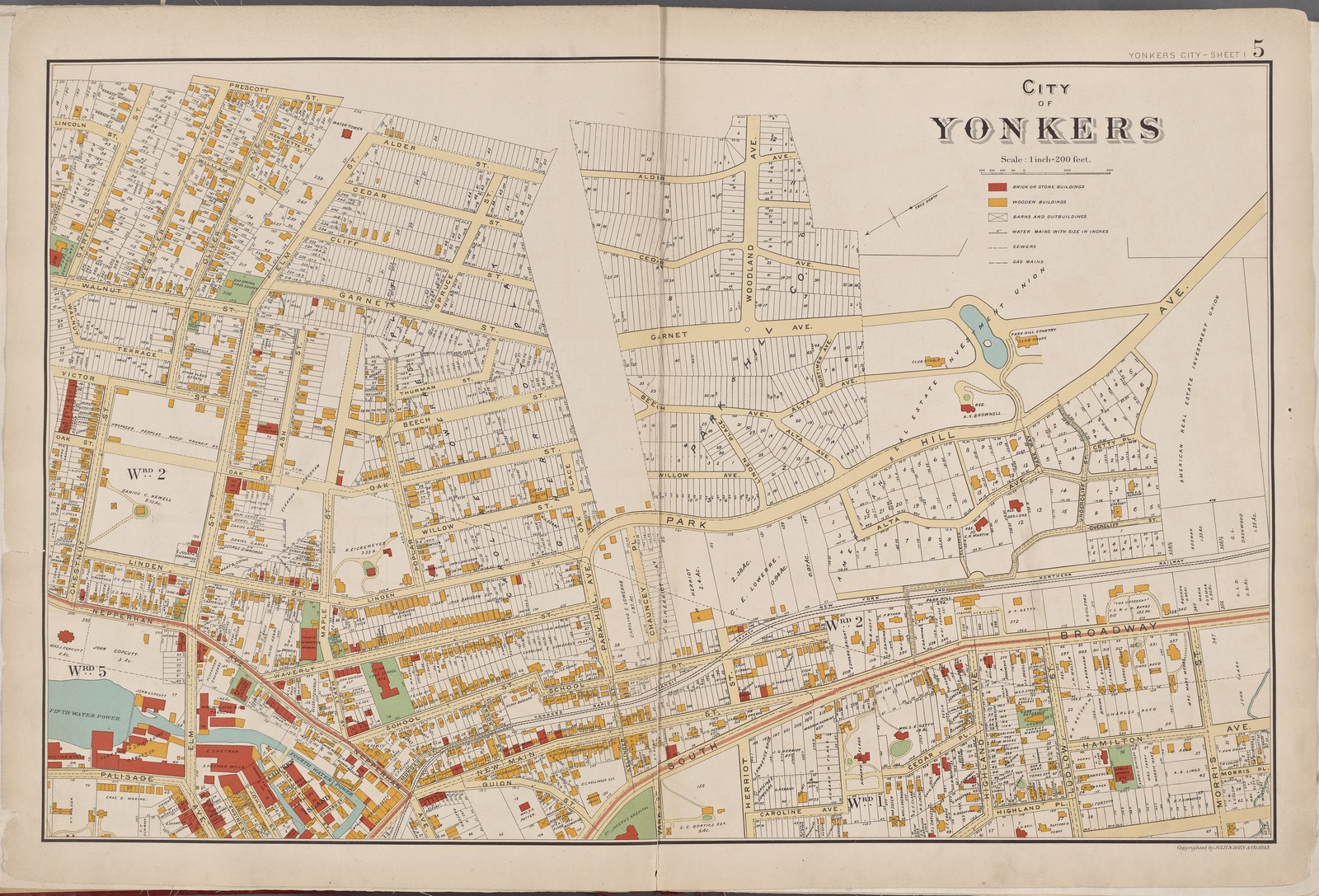 Westchester, Double Page Plate No. 5 [Map bounded by Prescott St., Morris St., Highland Pl., Caroline Ave., Guion St., Chestnut St., Garfield St.]