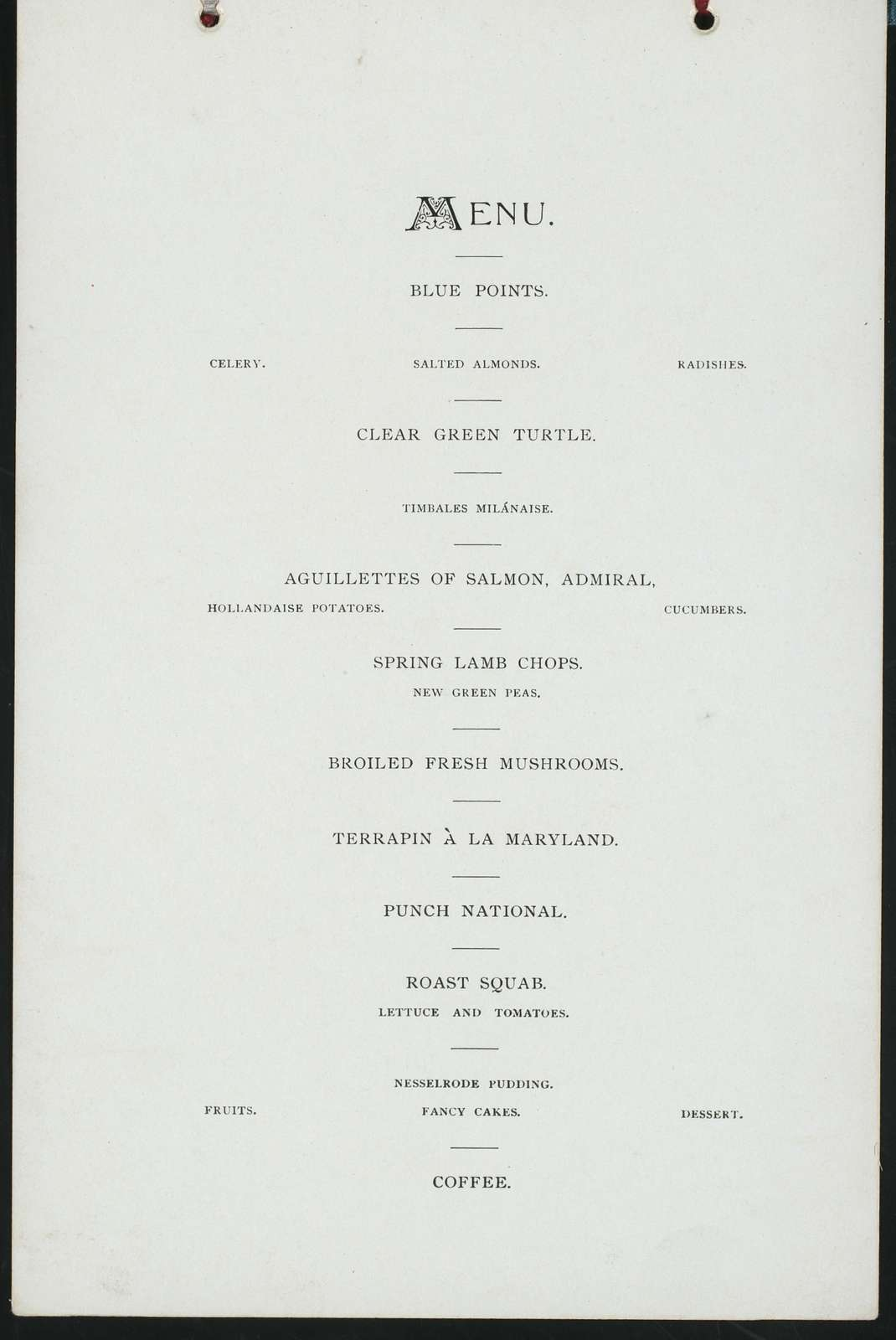 "WASHINGTON'S BIRTHDAY DINNER [held by] COLONIAL CLUB OF NEW YORK [at] ""CLUBHOUSE, SHERMAN SQUARE (NY?)"" (OTHER (PRIVATE CLUB))"