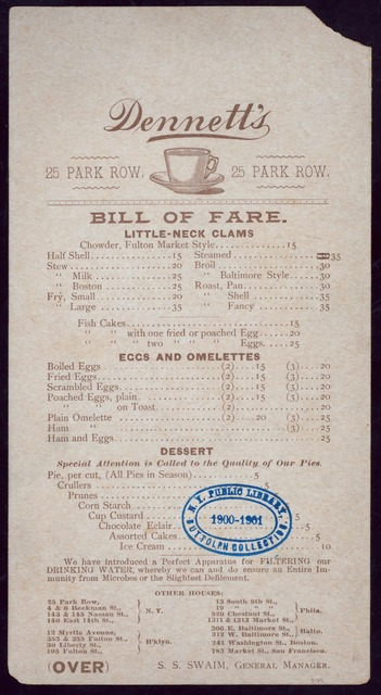 "BREAKFAST [held by] DENNETT'S [at] ""PARK ROW, NEW YORK, NY"" (REST;)"