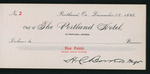 "CHRISTMAS DAY DINNER [held by] THE PORTLAND HOTEL [at] ""PORTLAND, OR"" (HOT;)"