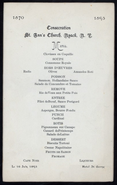 "CONSECRATION DINNER [held by] ST. ANN'S CHURCH [at] ""HOTEL ST. GEORGE, NYACK, NY"" (HOTEL)"