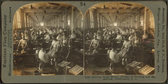 Making paper money, Bureau of Printing and Engraving, Washington, D.C..