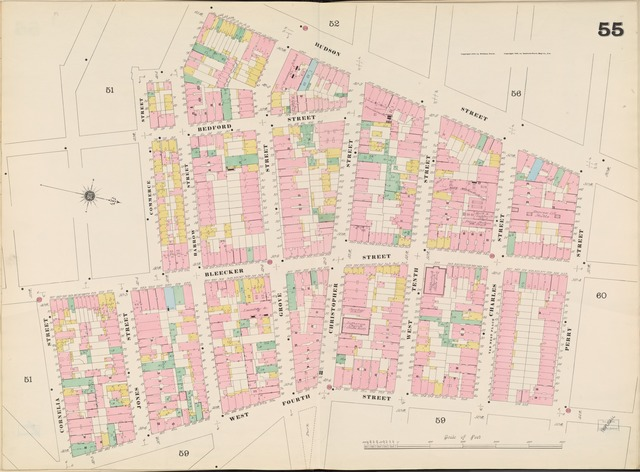 Manhattan, V. 3, Double Page Plate No. 55 [Map bounded by Hudson St., Perry St., W. 4th St., Cornelia St., Commerce St.]