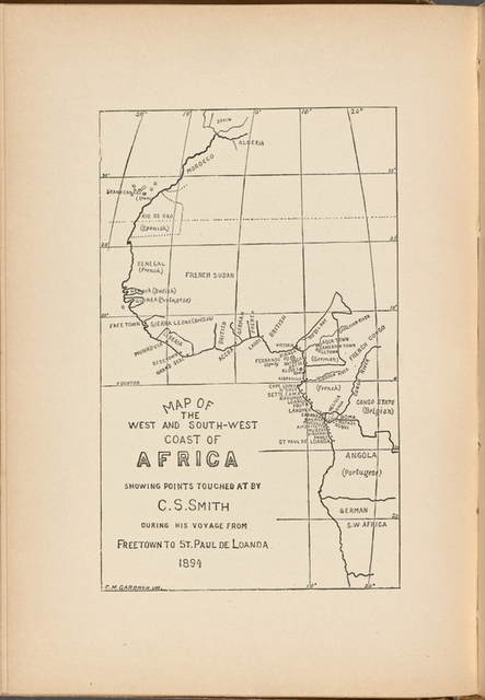 Map of the West and South-West Coast of Africa Showing Points Touched at by C.S. Smith During his Voyage From Freetown to St. Paul De Loanda 1894