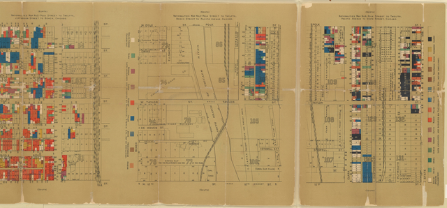 Nationalities map no. 1[-4], Polk Street to Twelfth, ... Chicago