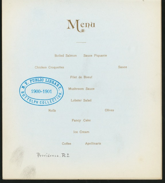 "SIXTH ANNUAL ANNIVERSARY BANQUET [held by] R.I. ALPHA OF PHI DELTA THETA [at] ""TILLINGHAST'S PARLORS, PROVIDENCE, RI"" (REST;)"