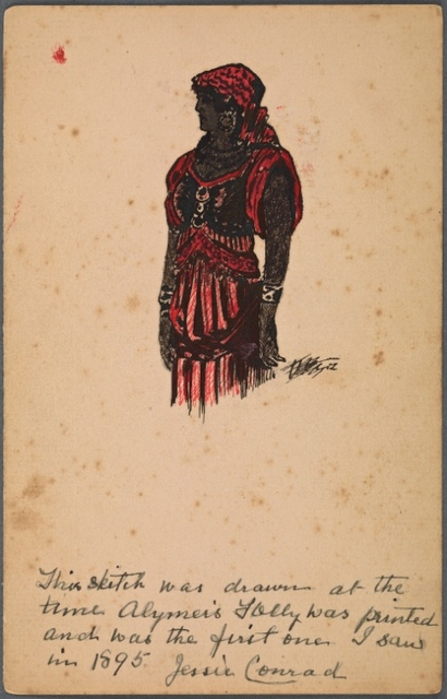 Sketch of a dark-skinned woman dressed in red and black garb