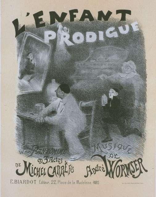 """Affiche pour la pantomime """"l'Enfant prodigue"""". Le Retour de l'Enfant Prodigue. (Acte III, Scène V.)"""
