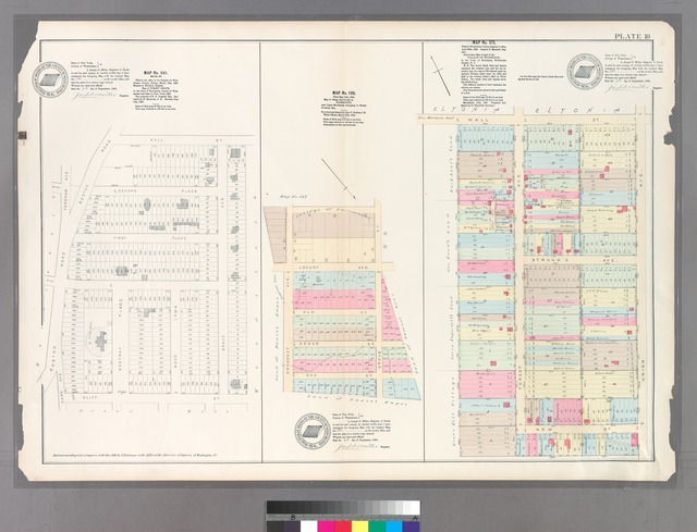 Plate 10: Map No. 541 [Bounded by Wall St., (Woodstock) Grove Ave, (Grove Hill) Cliff St., Carr Ave.and Boston Road.] - Map No. 195: [Bounded by Village of Fairmount, Grove St., Oak St. znc Prospect Ave.] - Map No. 373: [Bounded by Wall St., Union Ave., New St. and Forest Ave.]