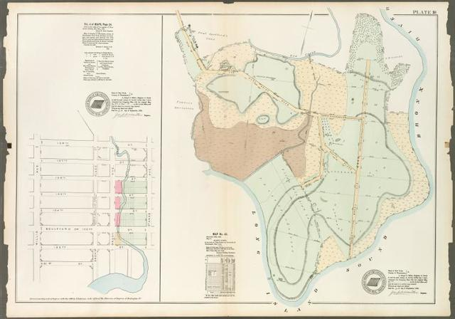 Plate 18: Vol. 4 of Maps, Page 34 [Bounded by 138th Street, St.Ann's Avenue, 131st Street and Willis Avenue.] - Map No. 41: [Bounded by Hunt Point Road North Place, Bronx River and Long Island Sound.]