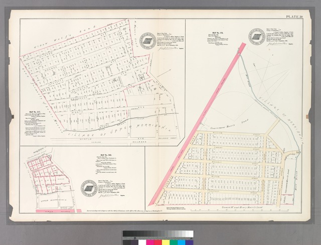 Plate 20: Map No. 517 [Bounded by Clinton Ave., Gary St., Lexington Ave., Morris St., Myrtle Ave., Warren St., Lafayette Ave. and Jane St.] - Map No. 176 [Bounded by William St., Morse Ave., Milton St., Washington Ave. and Terrace Place.] - Map No. 260 [Bounded by Lexington Ave., Morris St., Harlem Railroad and Fitch St.]