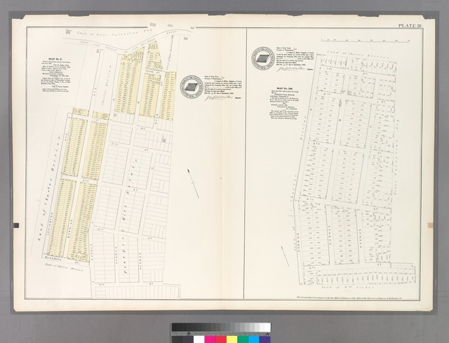 Plate 28: Map No. 8 [Bounded by Road from Highbridge to the Railroad Depot, Ryer Street, Avenue C, 5th Street, Lexingtom Avenue, 1st Street and Berrian Avenue.] - Ma[ No. 188: [Bounded by 1st Street, Avenue C, 5th Street and Avenue A.]