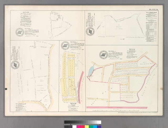 Plate 30: Map No. 368 [Bounded by School or Mill Brook, Bussing Lane and Harlem Railroad.] - Vol. 1 of Maps, Page 28: [Bounded by Road leading towards Yonkers, Road leading to Kingsbridge.] - Vol. 1 of Maps, Page 29. - Map No. 246: [Bounded by Isaac St., Berrian Ave., John St. and Prospect Ave.]- Map No. 209: [Bounded by Road to Williams Bridge, Bussings Lane, Franklin Ave, Harlem Railroad and  Corsa Ave.]