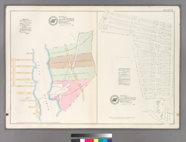 Plate 35: Map No. 45 [Bounded by Tenth Avenue, 181st Street, Croton Aqueduct, and 172nd Street.] -Vol. 2 of Maps, Pages 32: [Bounded by North Street, 1st Avenue, Walnut Street, and 9th Avenue.]