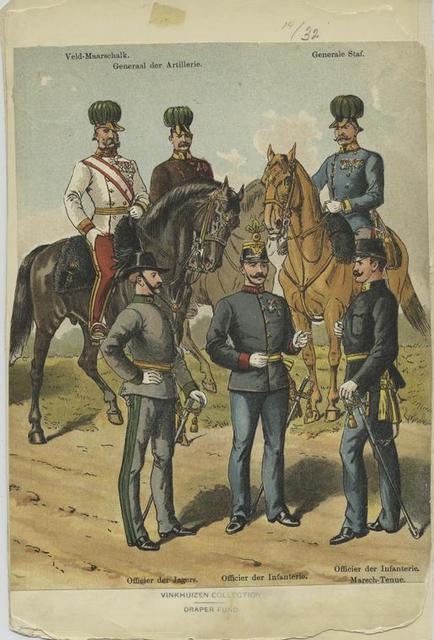 Veld-maarschalk; generaal der artillerie; generale staf; officier der jagers; officier der infanterie; officier der infanterie; marsch-tenue