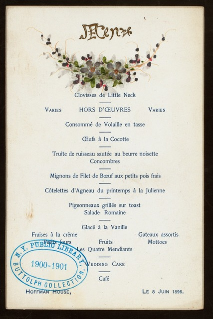 WEDDING LUNCH] [held by] HOFFMAN HOUSE [at]